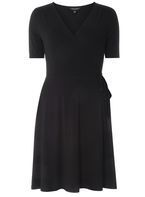 Womens Black Wrap Fit & Flare Dress- Black