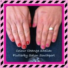 Colour change shellac changes to red when your cold or to pink when your hot!