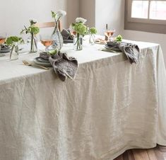 Your Smooth Linen Tablecloth is more formal with deep, expertly mitered hems. Mitered Corners, Linen Tablecloth, Smooth, Deep, Flooring, Formal, How To Make, Preppy, Burlap Tablecloth