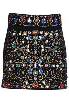 "ROMWE | ""Fake Diamonds"" Embroidery Black Skirt, The Latest Street Fashion"