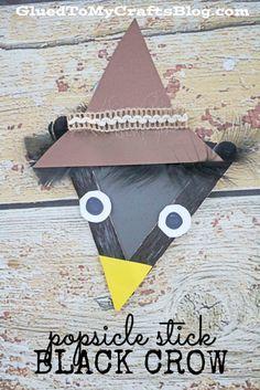 Popsicle Stick Black Crow - Kid Craft