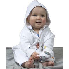 Een ontzettend leuke badcape van Snoozebaby, natuurlijk  met labeltjes.