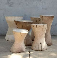 contemporary solid wood stool LOG Lodge Collection