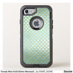 Trendy Mint Gold Glitter Mermaid Scales OtterBox Defender iPhone 8/7 Case Case #iPhone Case #mermaid #technology #phonecase, #mermaid #case,#mermaid #iphone, #mermaid #samsung, #society6 #shopping #onlineshopping #buyart #art #glamour #sparkle #girly #trendy #mermaidscales, #mermaid #scales #utart #zazzle