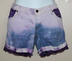 Distressed acid washed jean shorts .. tie dye with by Forever peace