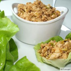 P.F. Paleo Chicken Lettuce Wraps; I added a little sunbutter to the meat mixture.