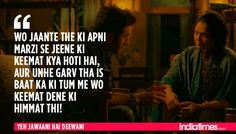 12 Times Ranbir-Deepika's 'Yeh Jawaani Hai Deewani' Proved That It Understood Our Generation Perfectly! Rude Quotes, Real Life Quotes, Reality Quotes, Hindi Quotes, Movie Quotes, Best Quotes, Motivational Quotes, Life Qoute, Random Quotes