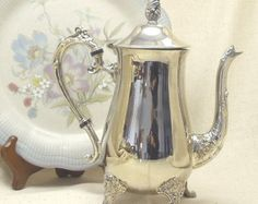 Check out Vintage Claw-Footed Coffee Server, Tea Server, with Flower Finial, Claw Feet, Silver Plated Houseware,#VH3016 on ckdesignsforyou
