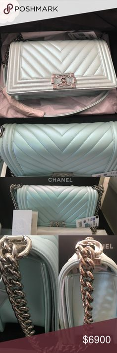 c6cbe99e6b1 CHANEL LE BOY LAMBSKIN LIGHT BLUE IRRESIDSCENT CHANEL LAMBSKIN CHEVRON OLD  MEDIUM BOY LIGHT BLUE IRIDESCENT SPRING SUMMER 2018 100% Authentic Chanel  old ...