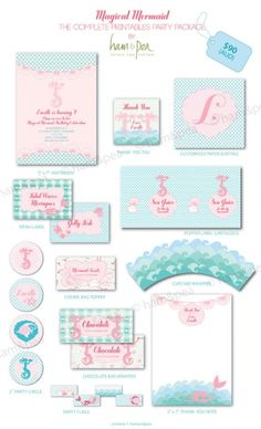 Magical Mermaid Party Printables The Complete Collection @Julie DelaOssa Little