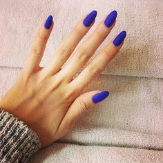 #almond nails #electric blue #matte #nail varnish