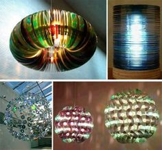 These ceiling lamps are created from old CD's (no instructions)