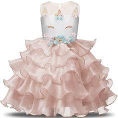 Dulan Girls Unicorn Dress Sleeveless Cake Skirt Prom Gown Party Dress Kids Formal Dress Princess Dress Ruffles Dress Color : A Size : Girls Fancy Dresses, Wedding Dresses For Kids, Elegant Party Dresses, Girls Party Dress, Party Wear Dresses, Ball Gown Dresses, Birthday Dresses, Wedding Party Dresses, Dress Party