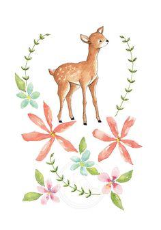 """Oh Deer Flowers"" Art Print from Watercolor Painting by Bumpkin Hill on Etsy. #nurseryart #illustration #wallart"
