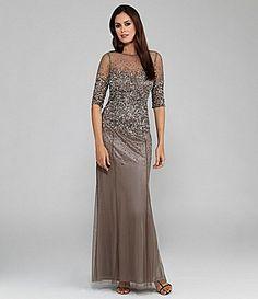 Adrianna Papell Beaded SheerSleeve Gown #Dillards