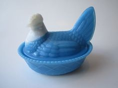 Vintage Westmorland Antique Blue Milk Glass Hen by mymilkglassshop, $58.50