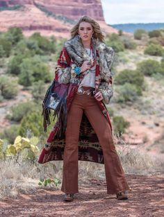 Fall fashion brings out the strong and contrasting colors of the outdoors. Warm and inviting fabrics - always adorned with statement jewelry and audacious accessories. Fringe Jacket, Fringe Dress, Fringe Scarf, Cowgirl Fashion, Cowgirl Style, Lace Beadwork, Pendleton Woolen Mills, Blanket Coat, Floral Shoulder Bags