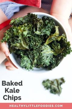 Baked Kale Chips pack a nutritional punch. They are light, crispy and melt in the mouth. Follow this easy recipe guide to make sure your baked kale chips come out perfect every time. A great way to get your kids loving leafy greens. Veggie Snacks, Savory Snacks, Healthy Snacks, Healthy Recipes, Healthy Breakfasts, Protein Snacks, Detox Recipes, Healthy Dinners, Keto Snacks