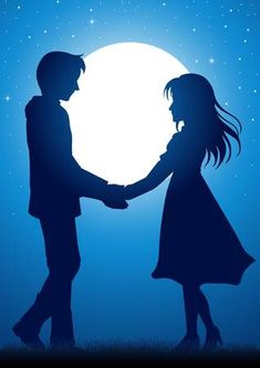 Illustration of Silhouette illustration of young couple holding hands under the moonlight vector art, clipart and stock vectors. Love Cartoon Couple, Cute Love Couple, Anime Love Couple, Cartoon Love Photo, Love Couple Images, Love Couple Wallpaper, Love Wallpaper Backgrounds, Love Wallpapers Romantic, Cute Wallpapers