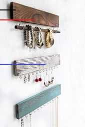 Rustic Jewelry Display Organizer for Wall – Wall Mounted Jewelry Holder Organizer with Removable Bracelet Rod and 24 Hooks – Perfect Earrings, Necklaces and Bracelets Holder – Vintage Jewelry Display Diy Jewelry Holder Frame, Wood Jewelry Display, Jewelry Organizer Wall, Jewelry Hanger, Rustic Jewelry, Jewelry Organization, Vintage Jewelry, Necklace Display, Necklace Ideas