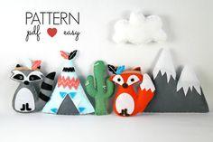 40% Off - Tribal Nursery - Tribal Baby Mobile - Felt Sewing Pattern - Baby Mobile Pattern - Indian Mobile -Felt Teepee - Snowy Mountain