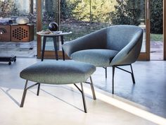 Retrò creations with modern balance for Lennox lounge chair by Gordon Guillaumier. This refined design is inspired to an open Fabric Armchairs, Fabric Sofa, Autocad, Modelos 3d, Single Sofa, Garden Table, Leather Fabric, Retro, Dining Chairs