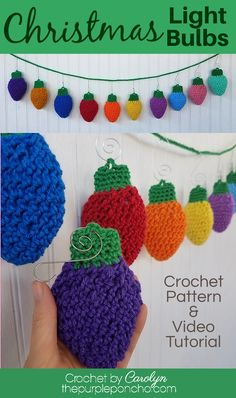 A fun crochet pattern to make Christmas Light Bulbs to decorate with or give as gifts! Make an ornament or a bunting or both! A video tutorial and written pattern for these cute lights on the blog for you now. #thepurpleponcho #crochetornament #crochetbunting #crochetgarland #crochetchristmas Holiday Crochet Patterns, Knitting Patterns, Crochet Gifts, Free Crochet, Christmas Light Bulbs, Christmas Crafts, Crochet Christmas, Christmas Holidays, Crochet Projects