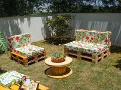Recycled wooden pallets planks and boards are not only cheaper in terms of rated but also durable in nature, so let's reshape them to craft creative DIY wood pallet furniture designs for your home. Pallet Furniture Designs, Pallet Garden Furniture, Outdoor Furniture Plans, Wooden Pallet Projects, Furniture Ideas, Wooden Furniture, Palette Furniture, Lawn Furniture, Wooden Chairs