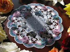Brand new crochet doily with flowers and butteflies- holiday doily