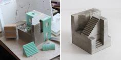 Modular concrete cubic sculptures