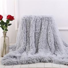 Buy 2018 New 13 Colors Super Soft Blankets for Beds Shaggy Faux Fur Blanket Ultra Plush Decorative Blanket White Blanket Bedding Christmas Gift at Wish - Shopping Made Fun Grey Throw Blanket, Couch Blanket, Fuzzy Blanket, Faux Fur Blanket, Fur Throw, Cozy Couch, Fluffy Blankets, Cute Blankets, Throw Blankets