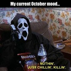 october mood yall - just chillin in my scream costume, waiting for halloween. #fallmemes #october #autumn #humor #funnymemes #lol #funny