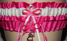 Fuchsia Pink and Ivory Garter Custom Colored by WeddingGarterStore, $15.99