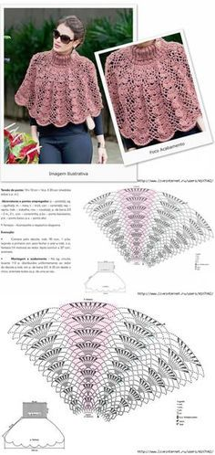 d5e93685a ТЁПЛАЯ ПЕЛЕРИНА С АЖУРНЫМ УЗОРОМ Crochet Ponchos, Crochet Shawl, Crochet  Scarves, Crochet Diagram