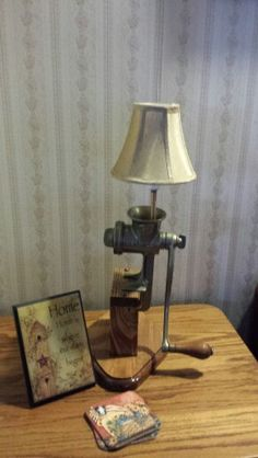 Meat grinder lamp my father in law made me