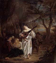 Carel de Moor (Dutch, 1656–1738) Title: A young lady playing the theorbo-lute with a negro page and a pair of lovers at the edge of a wood