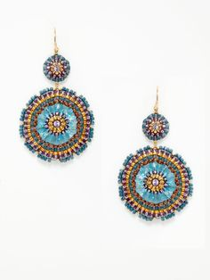 Miguel Ases blue DOUBLE CIRCLE DROP earrings