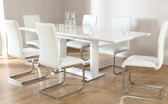 Tokyo & Perth Extending White High Gloss Dining Table & 4 6 8 Chairs ...