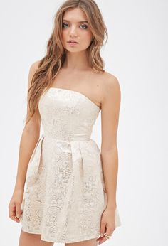 Metallic Brocade Strapless Dress - Dresses - 2000117701 - Forever 21 EU