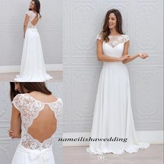 Attractive Modest Beach Wedding Dresses Cheap 2016 Lace Sheer Neck Cap Short Sleeves  Simple Chiffon Long White Backless Boho Bridal Gowns Custom Made A Line  Wedding ...