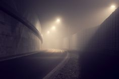 Mystical Pictures of Night Lights in the Fog
