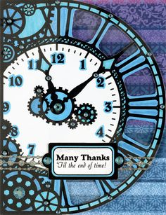 Paper Wishes® Weekly Webisodes, Scrapbooking Videos, ebony clocks and gears card toppers.