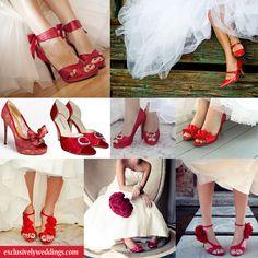 Red Wedding Heels For Bride Red Bridal Shoes, Wedding Shoes Bride, Bridal Heels, Bride Shoes, Wedding Attire, Wedding Dresses, Bride Pictures, Mona, Vintage Bridal