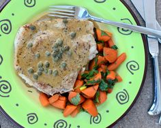 Caper Chops with Curried Carrots, another Quick Supper ♥ KitchenParade.com. Just one skillet for both. Quick, easy, inexpensive. Low Carb. High Protein. Weight Watchers friendly. Total win!