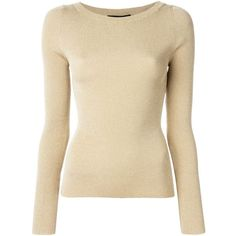 Dolce & Gabbana metallic ribbed knit sweater (56.560 RUB) ❤ liked on Polyvore featuring tops, sweaters, metallic, dolce gabbana sweaters, long sleeve tops, dolce gabbana top, brown tops and form fitting tops