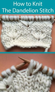How to Knit the Dandelion Stitch - Free step by step instructions on how to knit the dandelion stitch from we are knitters. How to Knit the Dandelion Stitch - Free step by step instructions on how to knit the dandelion stitch from we are knitters. Beginner Knitting Patterns, Knitting Stiches, Knitting Blogs, Easy Knitting, Knitting For Beginners, Crochet Patterns, Knitting Stitch Patterns, Kids Knitting, Knitting Charts