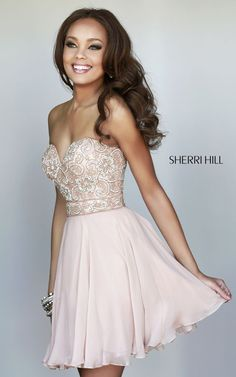 Sherri Hill 8548 Fitted Top Nude Short Prom Dress