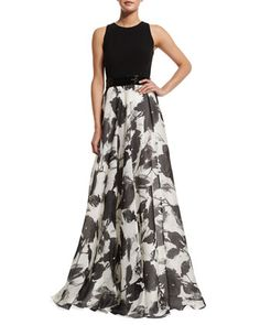 Sleeveless Floral Jacquard Ball Gown  by Carmen Marc Valvo at Neiman Marcus.