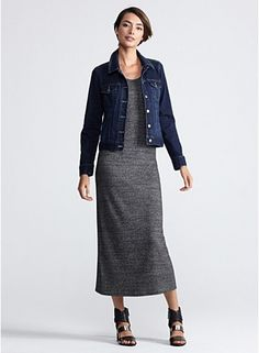 Racer-Back Maxi Dress in Cozy Heathered Jersey