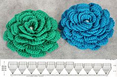A simple diagram of a lush flower crochet. Crochet wide variety of colors. Free chart of knitting by a lush flower crochet. Crochet Diy, Crochet Gratis, Love Crochet, Irish Crochet, Double Crochet, Crochet Ideas, Crochet Diagram, Crochet Chart, Crochet Motif